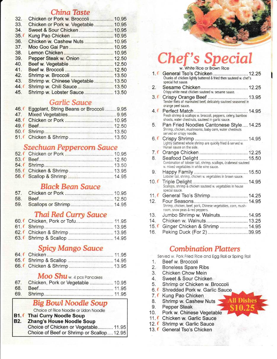 Zhang S Restaurant Menus In Old Saybrook Ct Serving Asian Chinese